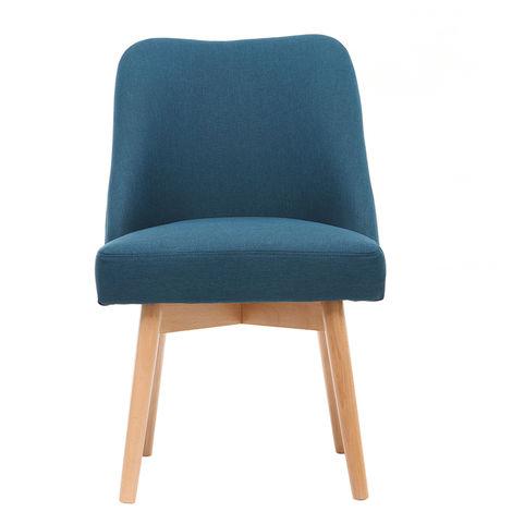 Chaise scandinave tissu pieds bois LIV - Bleu canard