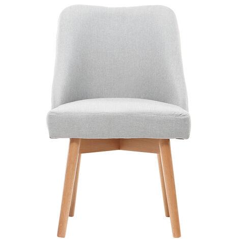 Chaise scandinave tissu pieds bois LIV - Gris perle