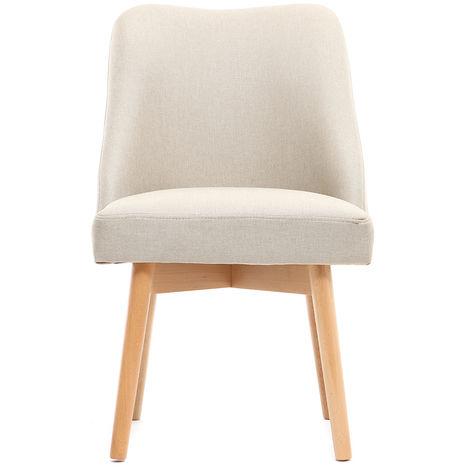 Chaise scandinave tissu pieds bois LIV - Naturel