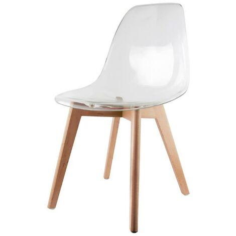 Chaise scandinave transparente - Blanc