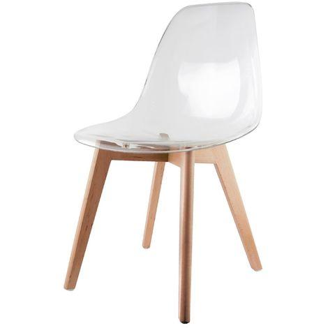 Chaise scandinave transparente - H. 86 cm - Blanc - Beige