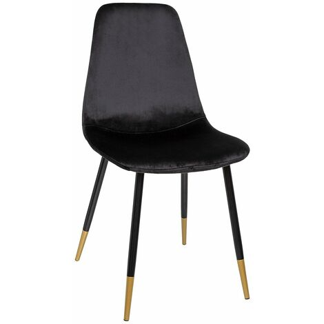 Chaise scandinave velours Tyka Gold noir - Noir