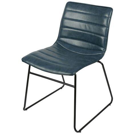 Chaise simili cuir bleu Brooklyn - Bleu orage