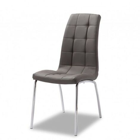 Chaise simili cuir gris pieds métal chromé Merlino - Gris