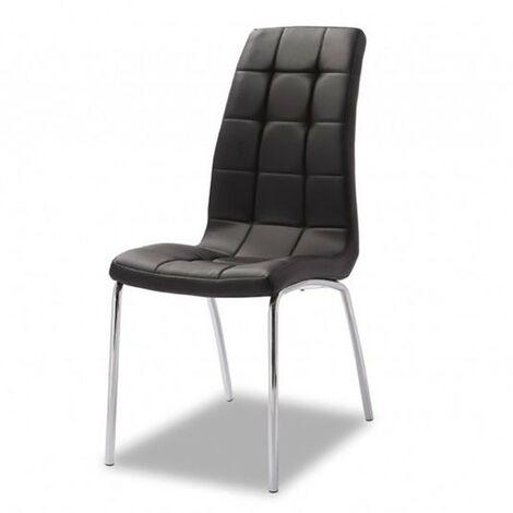 Chaise simili cuir noir pied métals chromé Merlino - Noir