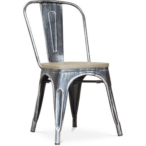 Chaise style Tolix - Métal et bois clair Gris foncé