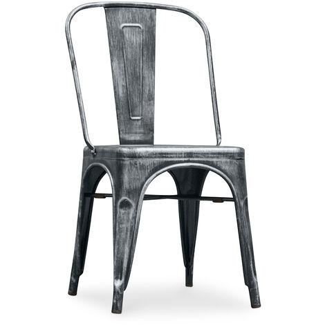 Chaise style Tolix - Siège carré - Métal Industriel