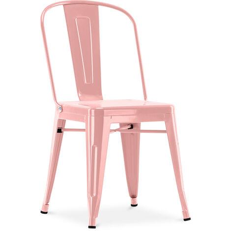 Chaise style Tolix - Siège carré - Métal Turquoise