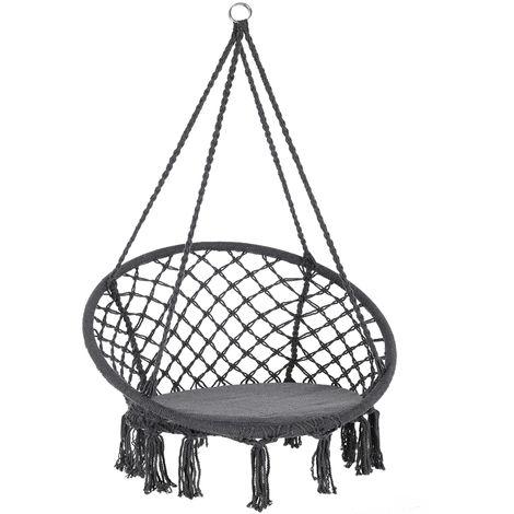 Chaise suspendue Ø61cm gris Siège fauteuil hamac Charge 150 kg - Coussin inclus