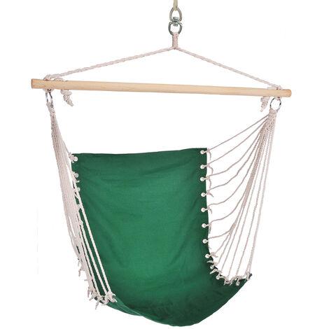 Chaise suspendue balançoire suspendue en bois de coton vert jardin chambre terrasse, 28 cordons, L x H 60 x 100 cm