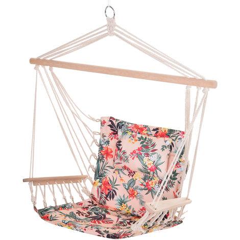 Chaise suspendue hamac de voyage respirant portable dim. 100L x 49l x 106H cm coton macramé polyester rose pâle motif à fleurs