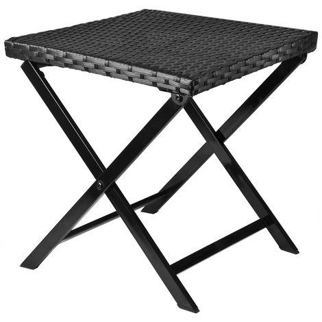 Chaise/tabouret de Jardin en Polyrotin pliable compact noir table