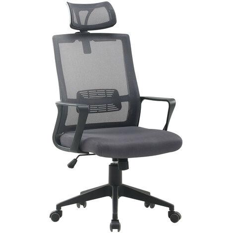 SKLUM  Chaise de Bureau avec Accoudoirs et Roulettes Teill Black Gris Polypropylène - Nylon       - Gris