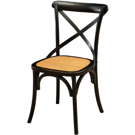 Chaise Thonet en frêne massif et assise en rotin avec finition noire antique L48xPR52xH88 cm
