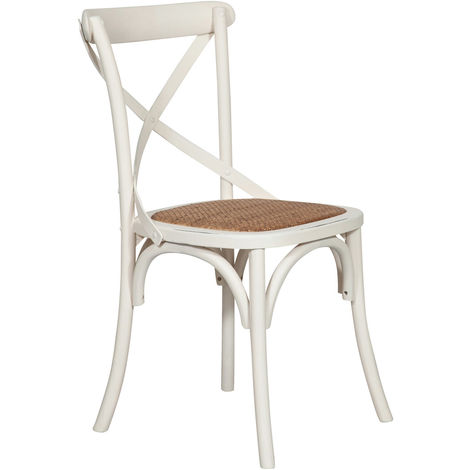 Chaise thonet en frêne massif et assise en rotin, finition blanc antique 46x42x86 cm