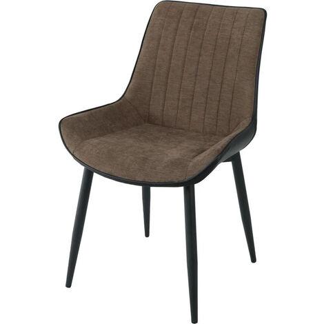 """main image of """"Chaise tissu gris et métal noir St Moritz - Lot de 4"""""""