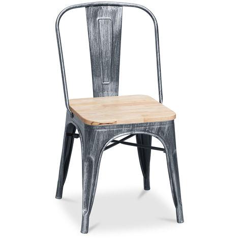 Chaise Tolix Carrée en bois Pauchard Style - Métal Noir