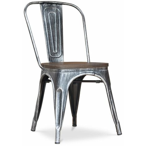 Chaise Tolix en bois Pauchard Style Nouvelle édition - Métal Blanc