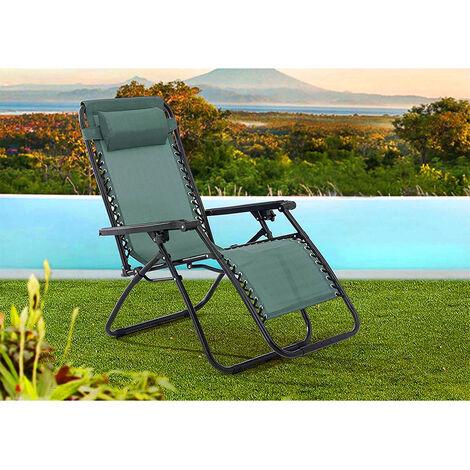 Chaise transat de plage pliante avec accoudoirs mer aluminium | Vert / DEUX