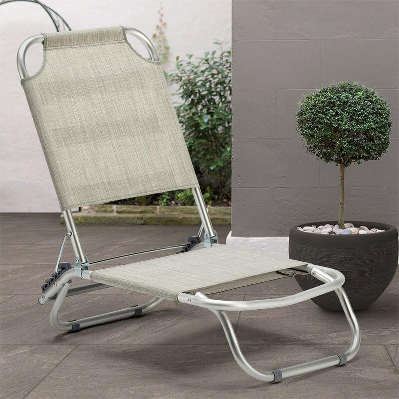 TropicalGris Pliante Piscine Chaise Transat De Plage Aluminium lFTK1Jc