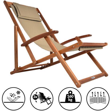 Chaise transat en bois d'acacia avec repose-tête - 3 niveaux - pliable Beige
