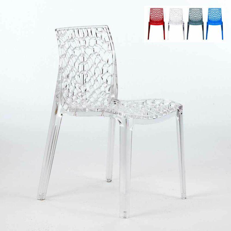 Chaise transparente salle à manger Café empilable nid d'abeille Grand Soleil GRUVYER | Transparent