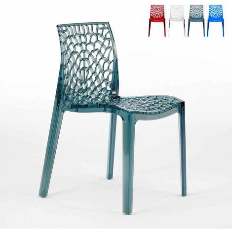 Chaise transparente salle à manger Café empilable nid d'abeille Grand Soleil GRUVYER