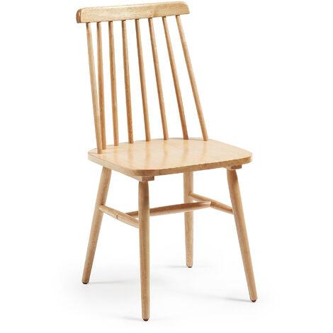 Kave Home - Chaise de salle à manger Tressia natural en bois massif de caoutchouc
