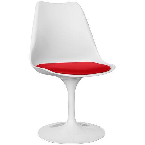 Chaise Tulip blanche avec coussin Rouge