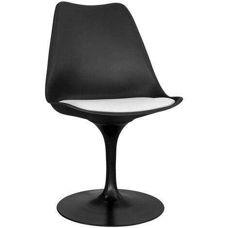 Chaise tulip noire avec coussin Blanc