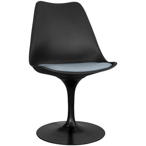 Chaise tulip noire avec coussin Gris clair