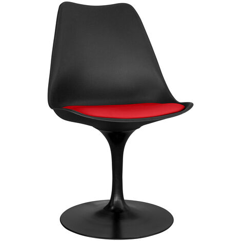 Chaise tulip noire avec coussin Rouge