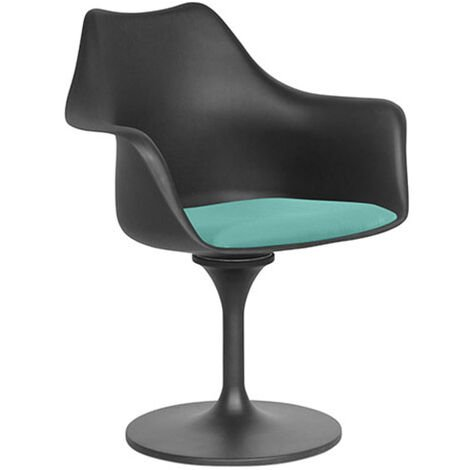 Chaise Tulipe pivotante - Simili Cuir - Coque Noire Turquoise