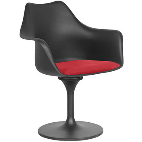 Chaise Tulipe pivotante - Simili Cuir - Coque Noire Rouge