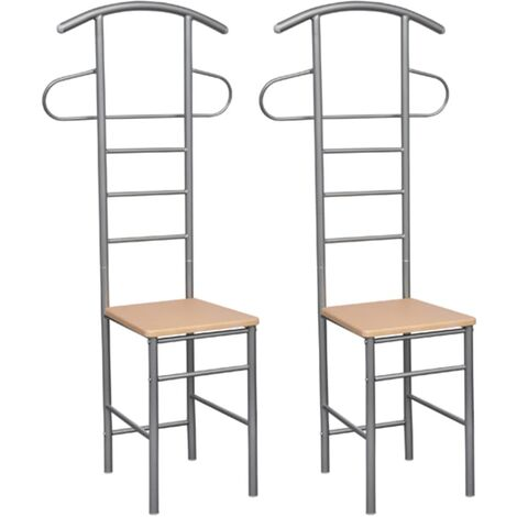 Chaise valet de nuit bois et métal design unique (lot de 2)