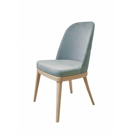 Chaise velours gris bleu clair - DONA
