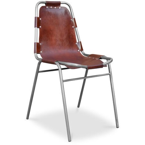 Chaise vintage design industriel - Acier et Cuir Premium Marron vieilli