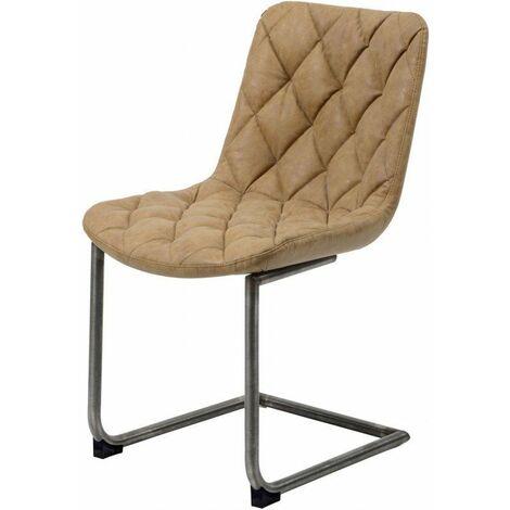 Chaise vintage en PU avec piétement en acier inoxydable (lot de 2) Léo