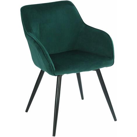 Chaise vintage GISELE velours vert - Vert