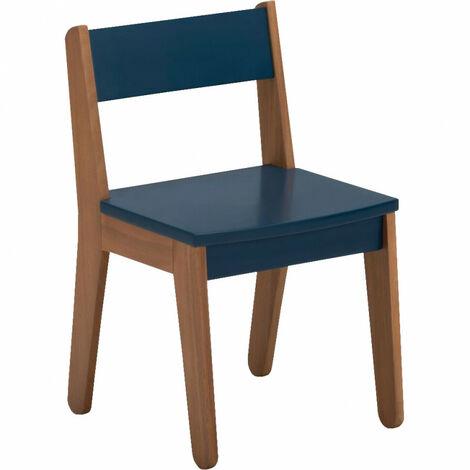 Chaise vintage pour enfant bleu foncé en acacia et MDF - NILS 2229 - bleu marine