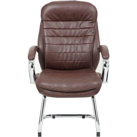 Chaise visiteur Como - habillage cuir, marron
