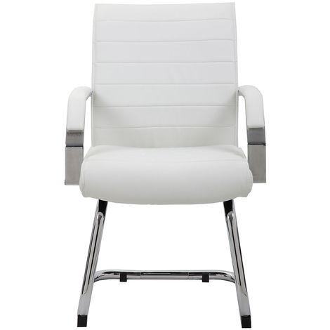 Chaise visiteur Identity - habillage cuir, blanc