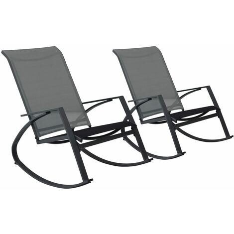 Chaises à bascule de jardin 2 pcs Textilène Gris foncé