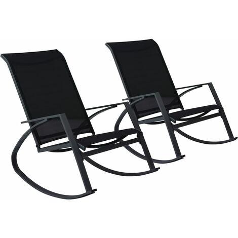 Chaises à bascule de jardin 2 pcs Textilène Noir