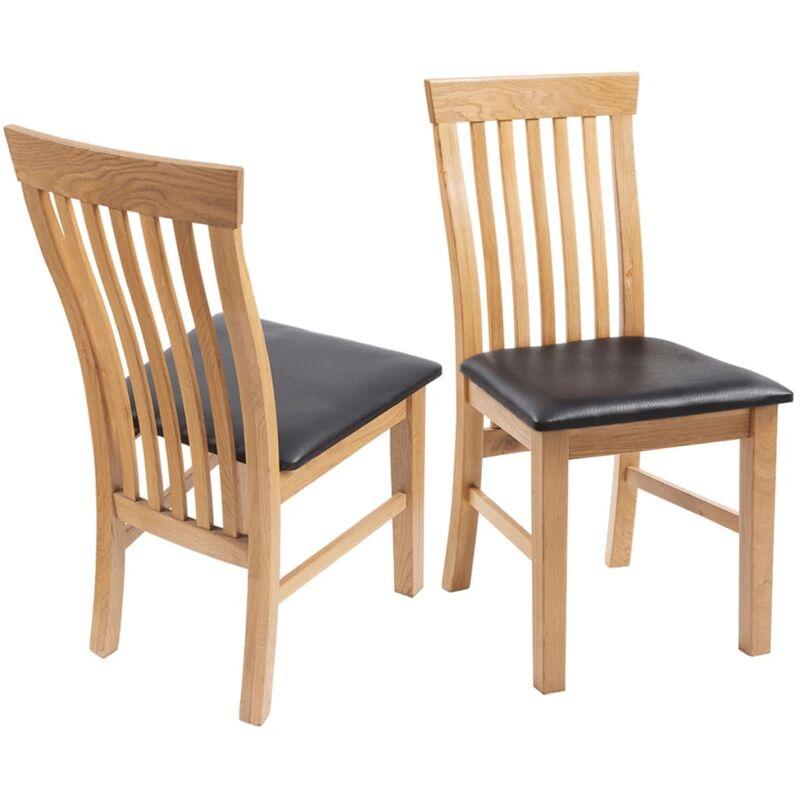 Chaises à dîner 6 pcs Bois de chêne massif et similicuir