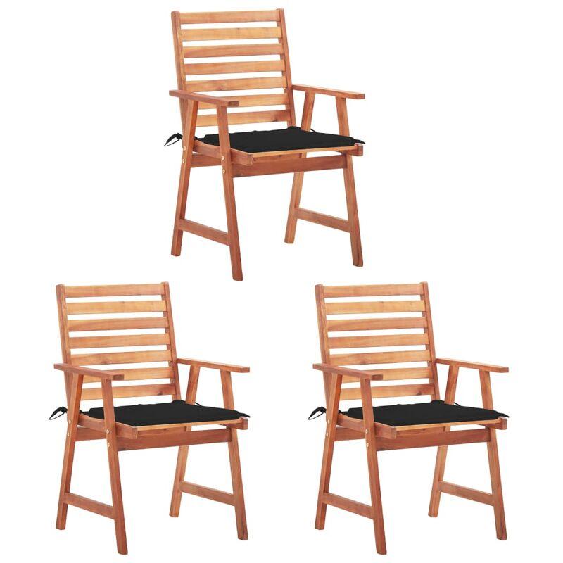 Betterlife - Chaises à dîner d'extérieur 3 pcs avec coussins Acacia massif5127-A