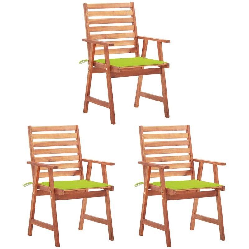 Betterlife - Chaises à dîner d'extérieur 3 pcs avec coussins Acacia massif5129-A