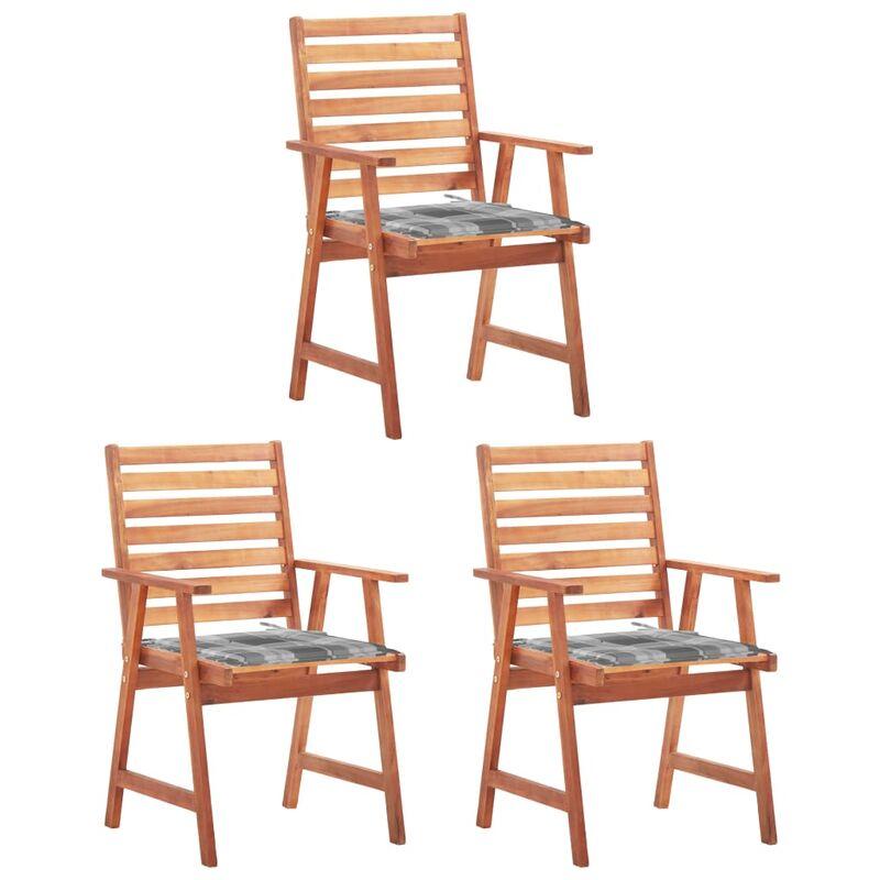 Betterlife - Chaises à dîner d'extérieur 3 pcs avec coussins Acacia massif5130-A