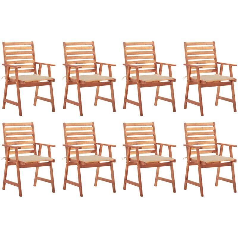 Chaises à dîner d'extérieur 8 pcs avec coussins Acacia massif