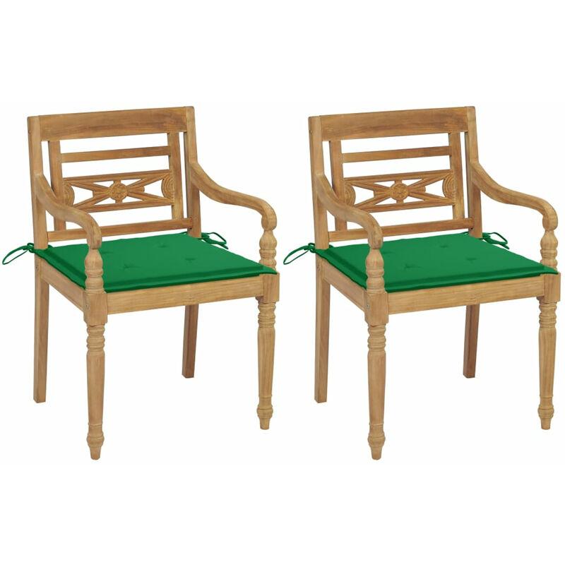Chaises Batavia 2 pcs avec coussins verts Bois de teck massif